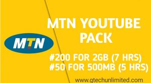 MTN YouTube Streaming Package |N50 For 500MB|N200 For 2GB ( 7hrs)