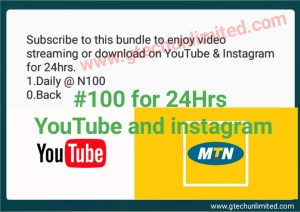 MTN NEW YOUTUBE AND INSTAGRAM PLAN #100 for 24hr