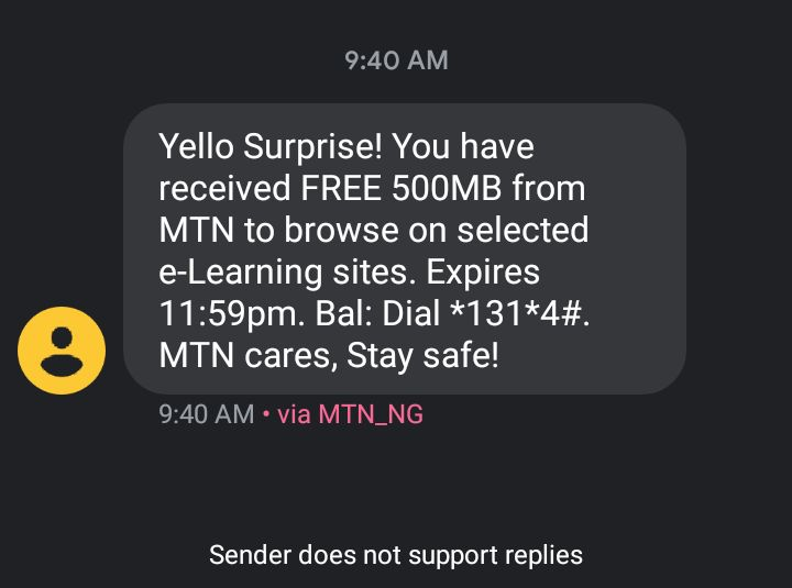 How to activate free MTN 500mb e learning daily data