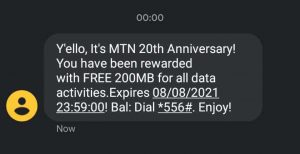 MTN 20th Anniversary In Nigeria With Free 200MB And 5mins free Call Surprise Package To All Customers a